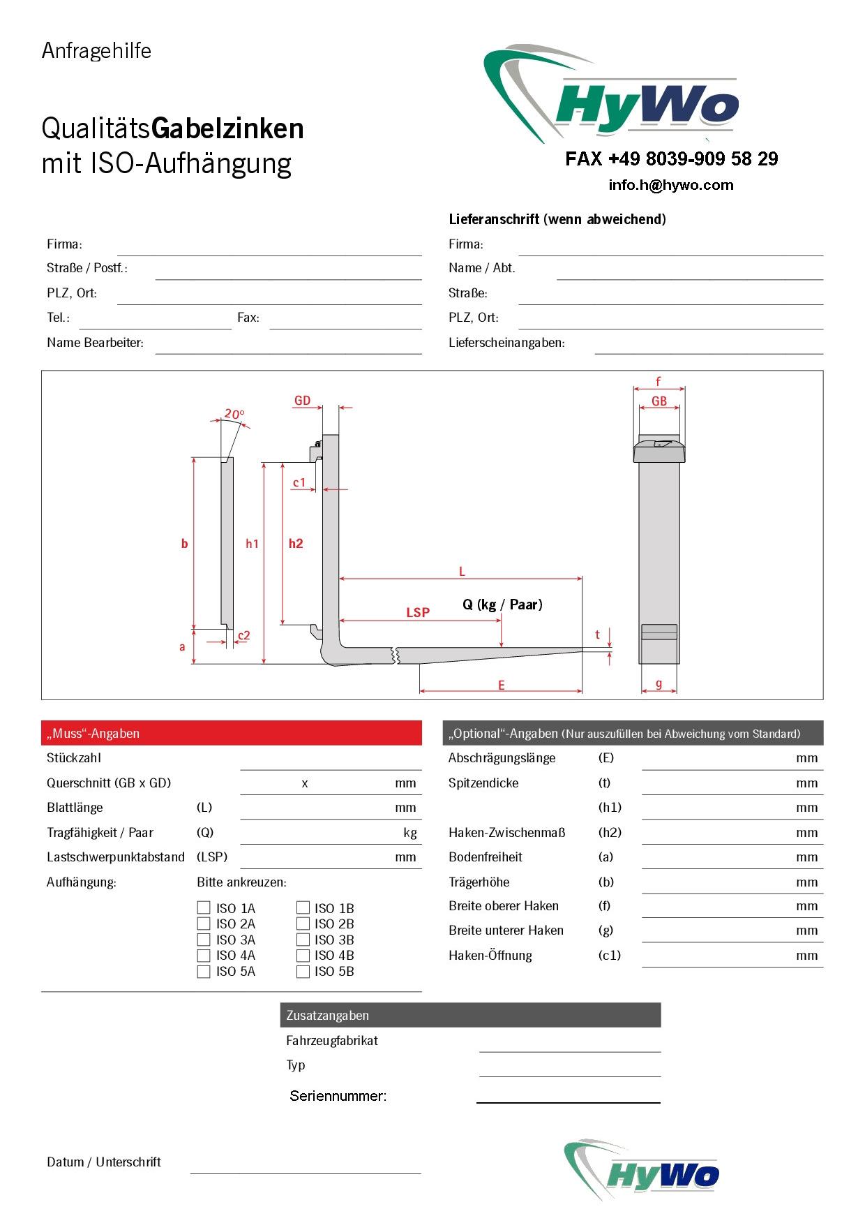 Forks ISO- data sheet